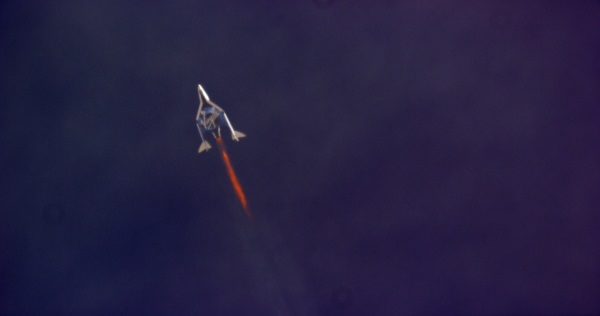 SpaceShipTwo during powered ascent on Oct. 31, 2014. (Credit: MARS Scientific/NTSB)
