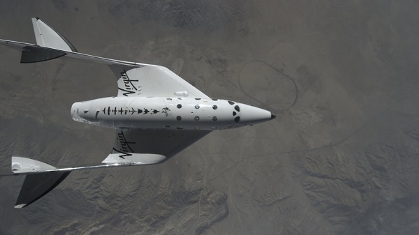 SpaceShipTwo after being released for its final flight. (Credit: Virgin Galactic/NTSB)
