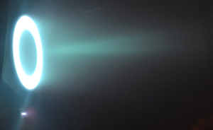European Space Propulsion successfully completed testing of a five-kilowatt Hall Thruster with a Power Processing Unit supplied by Thales Alenia Space Belgium. (Credit: European Space Propulsion)