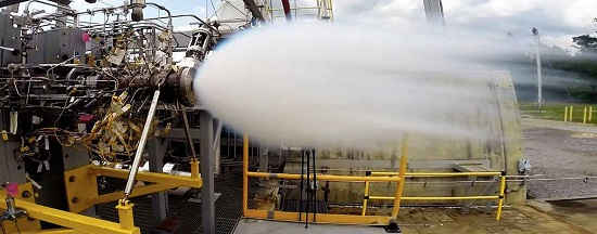 Operators at the E-2 Test Stand at Stennis conduct a test of the oxygen preburner component being developed by SpaceX for its Raptor rocket engine, which is being built to power flights to Mars. (Credit: NASA)
