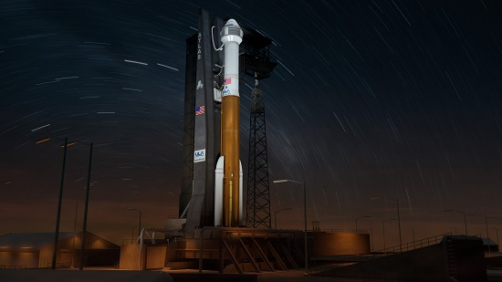 This artist concept shows Boeing's Starliner at Space Launch Complex 41 atop a United Launch Alliance Atlas V poised for a night launch to the International Space Station. (Credit: Boeing)