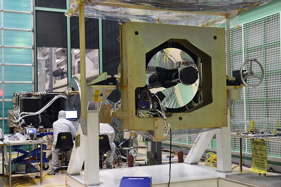 This image shows the ATLAS instrument inside a Goddard cleanroom where the instrument was assembled. (Credits: NASA/D. McCallum)