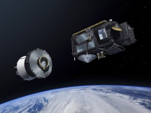 Sentinel-3 is ejected from the Breeze upper stage of the ROCKOT launcher. (Credit: ESA–Pierre Carril)