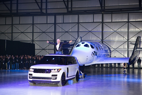 Richard Branson rolls out Virgin Galactic's Spaceship Unity in Mojave. (Credit: Virgin Galactic)
