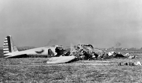 Crashed Boeing Model 299 at Wright Field, Ohio in 1934.