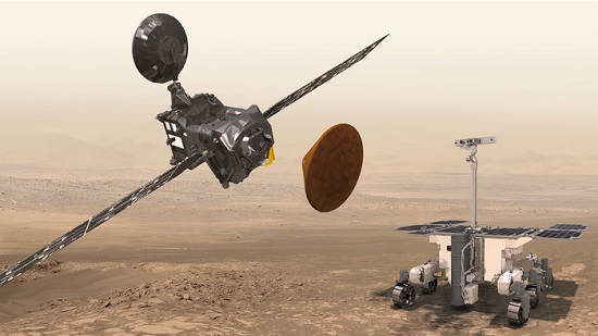 Trace Gas Orbiter, Schiaparelli and the ExoMars rover at Mars. (Credit: ESA/ATG medialab)