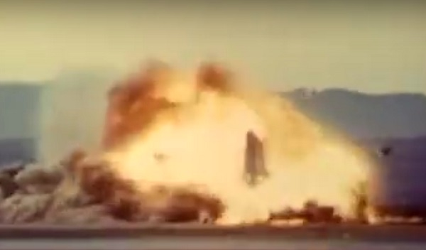 A F-100 Super Sabre crashes at Edwards Air Force Base in 1956.
