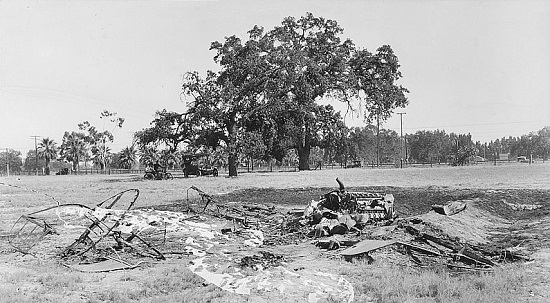 Air Crash West of Visalia, Calif., 1920s (Credit: Tulare County Library)