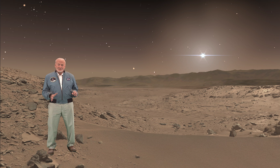 "Buzz Aldrin, an Apollo 11 astronaut who walked on the moon, makes a holographic appearance in ""Destination: Mars,"" a mixed-reality tour of a part of Mars that NASA's Curiosity rover has explored. (Credits: NASA/JPL-Caltech/Microsoft)"