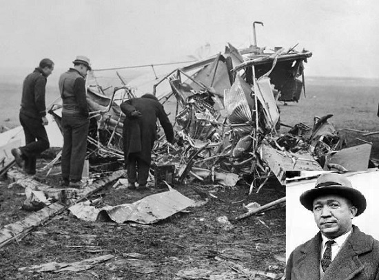 The plane crash that killed Knute Rockne (insert).