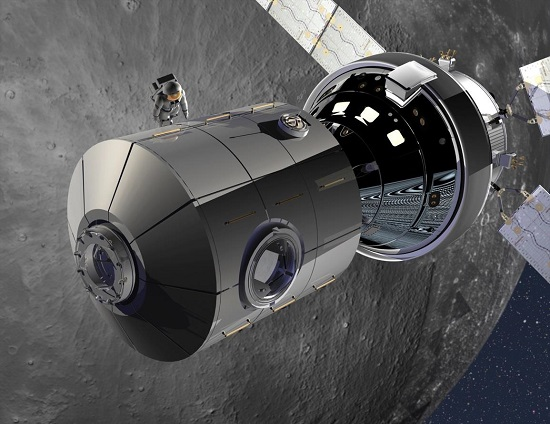 Orion and the NextSTEP habitat in the cis-lunar proving ground – the next step from low Earth orbit on the way to Mars. (Credit; Lockheed Martin)