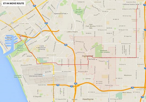 External Tank 94 route through Los Angeles. (Credit: California Science Center)