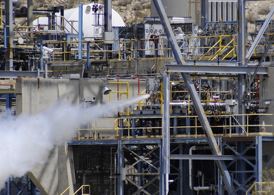 Hydrocarbon Boost sub-scale preburner firing at full-power at Test Stand 2A, Air Force Research Laboratory April 21, 2016. (U.S. Air Force photo by Ron Fair)