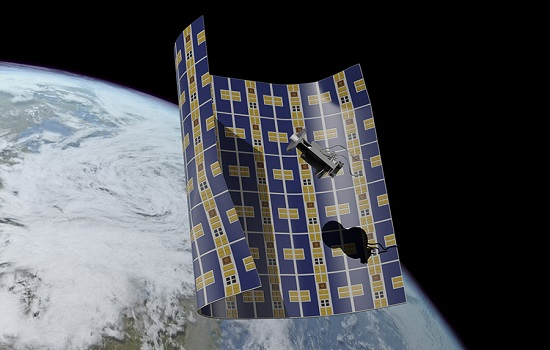 An artist's conception of Brane Craft about to capture a piece of space debris. (Credit: Joseph Hidalgo)