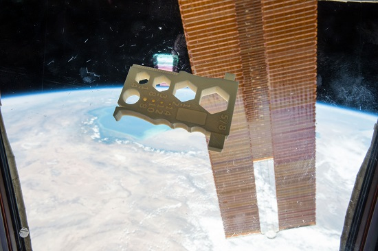 The Mulitpurpose Precision Maintenance Tool, created by University of Alabama in Huntsville student Robert Hillan as part of the Future Engineers Space Tool Challenge, was printed on the International Space Station. It is designed to provide astronauts with a single tool that can help with a variety of tasks, including tightening nuts or bolts of different sizes and stripping wires. (Credit: NASA)