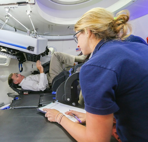 Ergonomic evaluations inside the CST-100 Starliner with Boeing's Chris Ferguson. (Credit: Boeing)