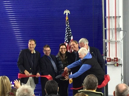 Craig Campbell, Lindsay Knight, Jenith Flynn, Dr. Robert McCoy, Sen. Gary Stevens and Rep. Louise Stutes re-dedicate the Pacific Spaceport Complex -- Alaska. (Credit: AAC)