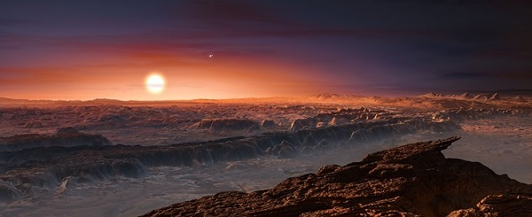 Artist's impression of the planet orbiting Proxima Centauri. (Credit: ESO)