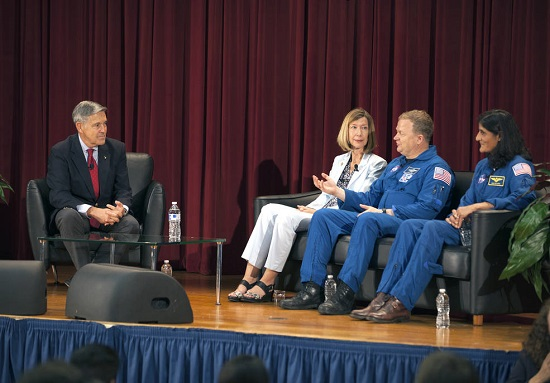 Bob Cabana, Kennedy Space Center director, from left, Kathy Lueders, Commercial Crew Program manager, astronauts Eric Boe and Suni Williams discuss talk about the development of a new generation of human-rated spacecraft. (Credits: NASA/Kim Shiflett)