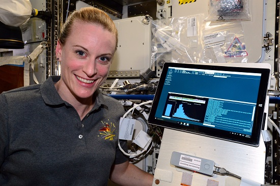 NASA Astronaut Kate Rubins sequenced DNA in space for the first time ever for the Biomolecule Sequencer investigation, using the MinION sequencing device. (Credit: NASA)