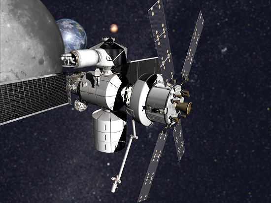 Concept of Lockheed Martin's NextSTEP-2 habitat with Orion. (Credit: Lockheed Martin)