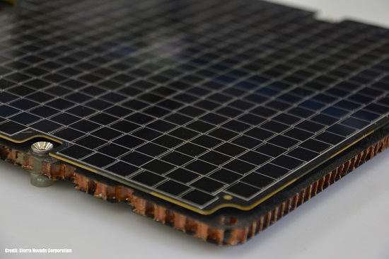 SNC's low-cost solar array Surface Mount Technology. (Credit: SNC)