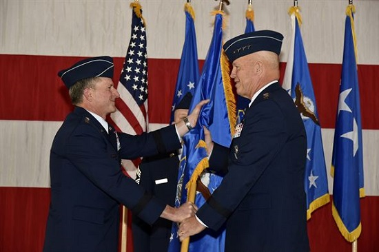 Air Force Chief of Staff Gen. David L. Goldfein passes the guidon of Air Force Space Command, to Gen. John Raymond at Peterson Air Force Base, Colo., Oct. 25, 2016. Raymond was previously the Deputy Chief of Staff for Operations, Headquarters Air Force. (U.S. Air Force Photo/Craig Denton) Mrs. Laura Hyten, wife of Gen. John Hyten, receives flowers as a thank you from the Airmen of Air Force Space Command during the AFSPC change of command ceremony Oct. 25, 2016, at Peterson Air Force Base, Colo. The Hytens are moving to Offut Air Force Base, Neb., where the general will become the next commander of U.S. Strategic Command. (U.S. Air Force Photo/Craig Denton) 2 of 12 DOWNLOAD HI-RES / PHOTO DETAILS Mrs. Laura Hyten, wife of Gen. John Hyten, receives flowers as a thank you from the Airmen of Air Force Space Command during the AFSPC change of command ceremony Oct. 25, 2016, at Peterson Air Force Base, Colo. The Hytens are moving to Offut Air Force Base, Neb., where the general will become the next commander of U.S. Strategic Command. (U.S. Air Force Photo/Craig Denton) Gen. John Raymond takes questions from the media during his first press conference as commander of Air Force Space Command, Oct. 25, 2016 at Peterson Air Force Base, Colo. Raymond was previously the Deputy Chief of Staff for Operations, Headquarters Air Force. (U.S. Air Force Photo/Tech. Sgt. David Salanitri) 3 of 12 DOWNLOAD HI-RES / PHOTO DETAILS Gen. John Raymond takes questions from the media during his first press conference as commander of Air Force Space Command, Oct. 25, 2016 at Peterson Air Force Base, Colo. Raymond was previously the Deputy Chief of Staff for Operations, Headquarters Air Force. (U.S. Air Force Photo/Tech. Sgt. David Salanitri) Gen. John Raymond prepares to address the media after taking charge of Air Force Space Command from Gen. John Hyten at Peterson Air Force Base, Colo., Oct. 25, 2016. Raymond was previously the Deputy Chief of Staff for Operations, Headquarters Air Force. (U.S. Air Force Photo/Tech. Sgt. David Salanitri) 4 of 12 DOWNLOAD HI-RES / PHOTO DETAILS Gen. John Raymond prepares to address the media after taking charge of Air Force Space Command from Gen. John Hyten at Peterson Air Force Base, Colo., Oct. 25, 2016. Raymond was previously the Deputy Chief of Staff for Operations, Headquarters Air Force. (U.S. Air Force Photo/Tech. Sgt. David Salanitri) Tech. Sgt. William Marx, 21st Operations Support Squadron, salutes as the Air Force Space Command change of command ceremony begins, Oct. 25, 2016 at Peterson Air Force Base, Colo. Gen. John Raymond, previously the Deputy Chief of Staff for Operations, Headquarters Air Force, took charge of AFSPC during the ceremony. (U.S. Air Force Photo/Tech. Sgt. David Salanitri) 5 of 12 DOWNLOAD HI-RES / PHOTO DETAILS Tech. Sgt. William Marx, 21st Operations Support Squadron, salutes as the Air Force Space Command change of command ceremony begins, Oct. 25, 2016 at Peterson Air Force Base, Colo. Gen. John Raymond, previously the Deputy Chief of Staff for Operations, Headquarters Air Force, took charge of AFSPC during the ceremony. (U.S. Air Force Photo/Tech. Sgt. David Salanitri) Gen. John Raymond speaks with Airmen shortly after taking charge of Air Force Space Command, Oct. 25, 2016 at Peterson Air Force Base, Colo. Raymond was previously the Deputy Chief of Staff for Operations, Headquarters Air Force. (U.S. Air Force photo/Airman 1st Class Dennis Hoffman) 6 of 12 DOWNLOAD HI-RES / PHOTO DETAILS Gen. John Raymond speaks with Airmen shortly after taking charge of Air Force Space Command, Oct. 25, 2016 at Peterson Air Force Base, Colo. Raymond was previously the Deputy Chief of Staff for Operations, Headquarters Air Force. (U.S. Air Force photo/Airman 1st Class Dennis Hoffman) Air Force Chief of Staff Gen. David L. Goldfein passes the Air Force Space Command guidon to Gen. John Raymond Oct. 25, 2016 at Peterson Air Force Base, Colo. Gen. Raymond was previously the Deputy Chief of Staff for Operations, Headquarters Air Force. (U.S. Air Force photo/Tech. Sgt. David Salanitri) 7 of 12 DOWNLOAD HI-RES / PHOTO DETAILS Air Force Chief of Staff Gen. David L. Goldfein passes the Air Force Space Command guidon to Gen. John Raymond Oct. 25, 2016 at Peterson Air Force Base, Colo. Gen. Raymond was previously the Deputy Chief of Staff for Operations, Headquarters Air Force. (U.S. Air Force photo/Tech. Sgt. David Salanitri) Left, Air Chief of Staff Gen. David L. Goldfein, Gen. John Hyten, outgoing commander of Air Force Space Command, and Gen. John Raymond salute during the National Anthem, Oct. 25, 2016 at Peterson Air Force Base, Colo. Raymond took command of AFSPC minutes later. (U.S. Air Force Photo/Tech. Sgt. David Salanitri) 8 of 12 DOWNLOAD HI-RES / PHOTO DETAILS Left, Air Chief of Staff Gen. David L. Goldfein, Gen. John Hyten, outgoing commander of Air Force Space Command, and Gen. John Raymond salute during the National Anthem, Oct. 25, 2016 at Peterson Air Force Base, Colo. Raymond took command of AFSPC minutes later. (U.S. Air Force Photo/Tech. Sgt. David Salanitri) Air Force Chief of Staff Gen. David L. Goldfein speaks during the Air Force Space Command change of command ceremony at Peterson Air Force Base, Colo., Oct. 25, 2016. Minutes later, Gen. John Raymond took command of AFSPC. (U.S. Air Force Photo/Tech. Sgt. David Salanitri) 9 of 12 DOWNLOAD HI-RES / PHOTO DETAILS Air Force Chief of Staff Gen. David L. Goldfein speaks during the Air Force Space Command change of command ceremony at Peterson Air Force Base, Colo., Oct. 25, 2016. Minutes later, Gen. John Raymond took command of AFSPC. (U.S. Air Force Photo/Tech. Sgt. David Salanitri) Gen. John Raymond addresses audience members moments after taking charge of Air Force Space Command from Gen. John Hyten at Peterson Air Force Base, Colo., Oct. 25, 2016. Raymond was previously the Deputy Chief of Staff for Operations, Headquarters Air Force. (U.S. Air Force Photo/Tech. Sgt. David Salanitri) 10 of 12 DOWNLOAD HI-RES / PHOTO DETAILS Gen. John Raymond addresses audience members moments after taking charge of Air Force Space Command from Gen. John Hyten at Peterson Air Force Base, Colo., Oct. 25, 2016. Raymond was previously the Deputy Chief of Staff for Operations, Headquarters Air Force. (U.S. Air Force Photo/Tech. Sgt. David Salanitri) Right, Gen. John Hyten, outgoing commander of Air Force Space Command, claps with (left) Air Chief of Staff Gen. David L. Goldfein minutes after Gen. John Raymond took command of AFSPC, Oct. 25, 2016 at Peterson Air Force Base, Colo. Gen. Raymond was previously the Deputy Chief of Staff for Operations, Headquarters Air Force. (U.S. Air Force Photo/Airman 1st Class Dennis Hoffman) 11 of 12 DOWNLOAD HI-RES / PHOTO DETAILS Right, Gen. John Hyten, outgoing commander of Air Force Space Command, claps with (left) Air Chief of Staff Gen. David L. Goldfein minutes after Gen. John Raymond took command of AFSPC, Oct. 25, 2016 at Peterson Air Force Base, Colo. Gen. Raymond was previously the Deputy Chief of Staff for Operations, Headquarters Air Force. (U.S. Air Force Photo/Airman 1st Class Dennis Hoffman) From right, Gen. John Hyten, outgoing commander of Air Force Space Command, takes in the moment as Air Force Chief of Staff Gen. David L. Goldfein looks on minutes before Goldfein passes command of AFSPC to Gen. John Raymond, Oct. 25, 2016 at Peterson Air Force Base, Colo. (U.S. Air Force Photo/Airman 1st Class Dennis Hoffman) 12 of 12 DOWNLOAD HI-RES / PHOTO DETAILS From right, Gen. John Hyten, outgoing commander of Air Force Space Command, takes in the moment as Air Force Chief of Staff Gen. David L. Goldfein looks on minutes before Goldfein passes command of AFSPC to Gen. John Raymond, Oct. 25, 2016 at Peterson Air Force Base, Colo. (U.S. Air Force Photo/Airman 1st Class Dennis Hoffman)
