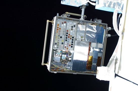 Experiment sample trays on MISSE-8 attached to the exterior of the International Space Station in 2013. These trays held the ionic liquid epoxy samples that could help build composite cryogenic tanks for future spacecraft. (Credit: NASA)