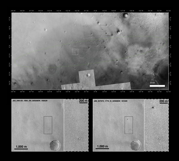 The landing site of the Schiaparelli module within the predicted landing ellipse in a mosaic of images from the Context Camera (CTX) on NASA's Mars Reconnaissance Orbiter and the Thermal Emission Imaging System (THEMIS) on NASA's 2001 Mars Odyssey orbiter. Below the main image are a pair of before-and-after images, taken by the CTX camera on 29 May 2016 (left) and 20 October 2016 (right), respectively. The 20 October image shows two new features appearing following the arrival of the Schiaparelli test lander module on the martian surface on 19 October. (Credit: NASA/JPL-Caltech/MSSS, Arizona State University; inserts: NASA/JPL-Caltech/MSSS)