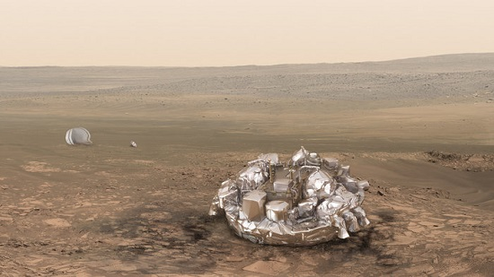 Artist impression of the Schiaparelli module on the surface of Mars. (Credit: ESA/ATG medialab)