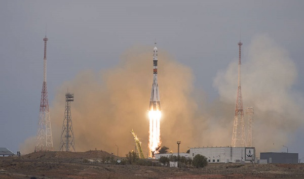 The Soyuz MS-02 rocket is launched with Expedition 49 Soyuz commander Sergey Ryzhikov of Roscosmos, flight engineer Shane Kimbrough of NASA, and flight engineer Andrey Borisenko of Roscosmos, Wednesday, Oct. 19, 2016 at the Baikonur Cosmodrome in Kazakhstan.  Ryzhikov, Kimbrough, and Borisenko will spend the next four months living and working aboard the International Space Station.  (Credit: NASA/Joel Kowsky)