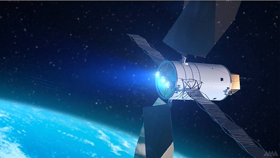 NASA's Game Changing Development Program, managed by the agency's Space Technology Mission Directorate, and the National Institute of Aerospace are seeking novel and robust concepts for in-space assembly of spacecraft – particularly tugs, propelled by solar electric propulsion, that transfer payloads from low earth orbit to a lunar distant retrograde orbit. (Credit: Analytical Mechanics Associates)