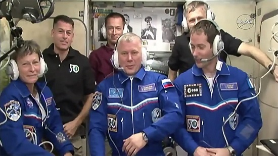 The six-member Expedition 50 crew is comprised of (front row, from left) Peggy Whitson, Oleg Novitskiy and Thomas Pesquet. In the back, from left, are Shane Kimbrough, Sergey Ryzhikov and Andrey Borisenko. (Credit: NASA TV)