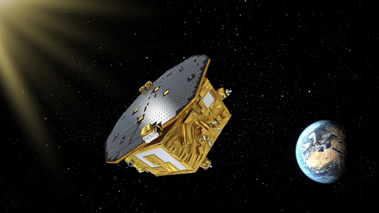 An artist's concept of the European Space Agency's LISA Pathfinder spacecraft, designed to pave the way for a mission detecting gravitational waves. NASA/JPL developed a thruster system on board. (Credit: ESA)
