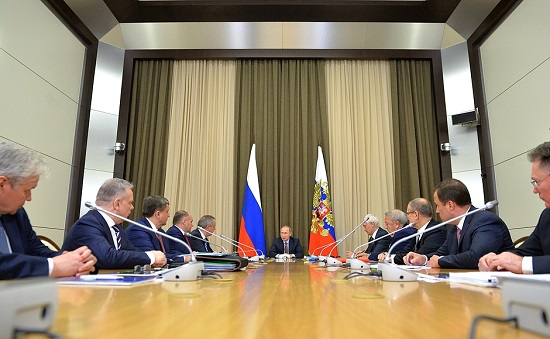 Meeting on the development strategy for Roscosmos State Corporation. (Credit: Russian government)