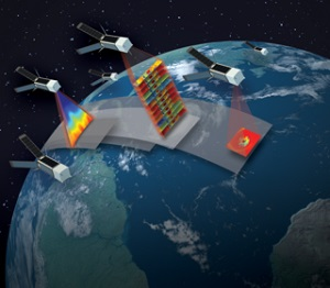 TROPICS, a new NASA Earth-observing mission announced this year, will study the insides of hurricanes with a constellation of 12 CubeSats. (Credit: MIT Lincoln Laboratory)