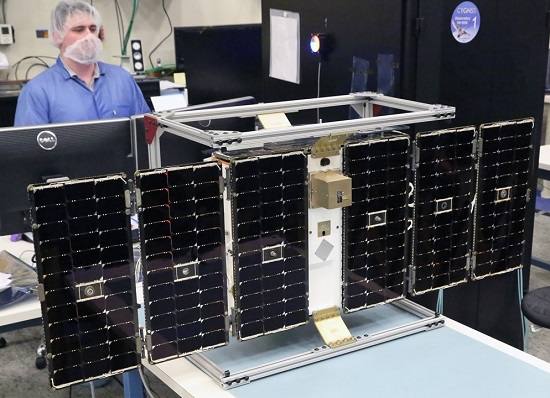 One of the eight microsatellites in the CYGNSS constellation under construction. The mission is set to launch in December to collect data to improve hurricane intensity forecasts. (Credit: University of Michigan)