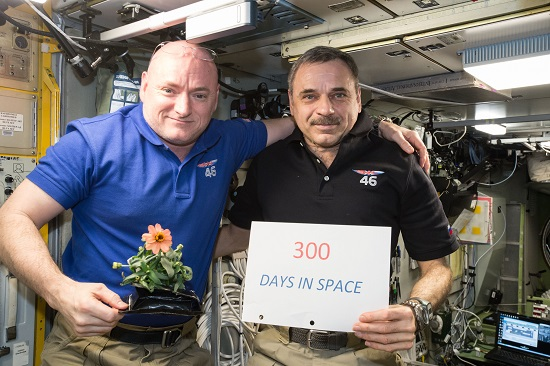 One-year mission crew members Scott Kelly of NASA (left) and Mikhail Kornienko of Roscosmos (right) celebrated their 300th consecutive day in space on Jan. 21, 2016. (Credit: NASA)