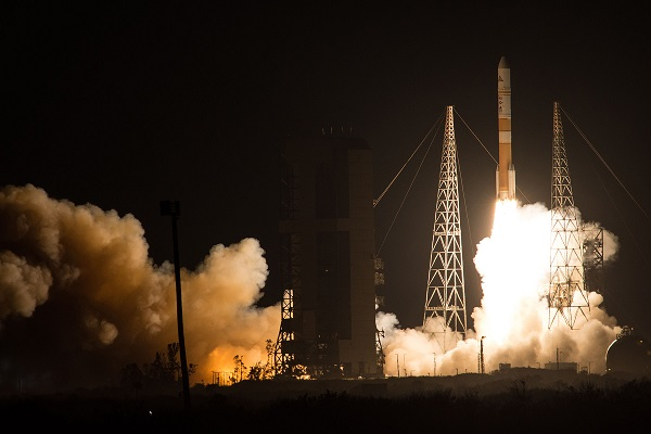 A Delta IV rocket carries the WGS-8 satellite into orbit. (Credit: ULA)