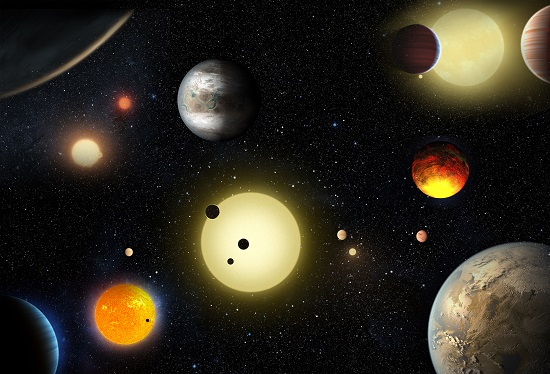 This artist's concept depicts select planetary discoveries made to date by NASA's Kepler space telescope. (Credit: NASA/W. Stenzel)