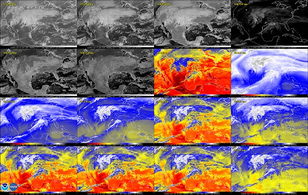 This 16-panel image shows the continental United States in the two visible, four near-infrared and 10 infrared channels on the Advanced Baseline Imager (ABI). These channels help forecasters distinguish between differences in the atmosphere like clouds, water vapor, smoke, ice and volcanic ash. (Credits: NOAA/NASA)