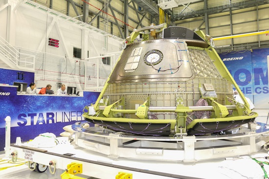 Boeing's CST-100 Structural Test Article ready for shipment from C3PF to Boeing's facility in Huntington Beach, California. (Credit: Boeing)
