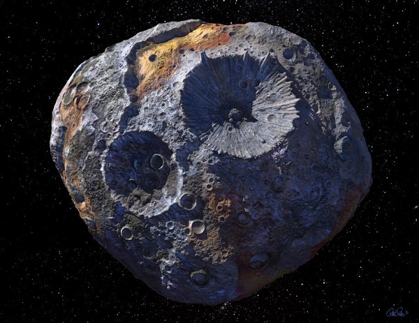 Artist rendition of the asteroid Psyche. (Credit: Peter Rubin/ASU