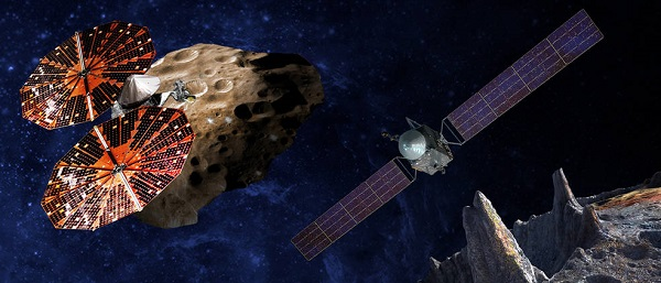 An artist's conception of the Lucy spacecraft (left) flying by the Trojan Eurybates – one of the six diverse and scientifically important Trojans to be studied. Trojans are fossils of planet formation and so will supply important clues to the earliest history of the solar system. (Right) Psyche, the first mission to the metal world 16 Psyche will map features, structure, composition, and magnetic field, and examine a landscape unlike anything explored before. Psyche will teach us about the hidden cores of the Earth, Mars, Mercury and Venus. (Credit: SwRI, SSL/Peter Rubin)