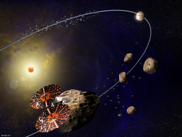 Southwest Research Institute is leading NASA's Lucy mission, which will launch in 2021 for the first reconnaissance of the Trojans, a population of primitive asteroids orbiting in tandem with Jupiter. In this artist's concept (not to scale), the Lucy spacecraft is flying by Eurybates, one of the six diverse and scientifically important Trojans to be studied. (Credit: SwRI)